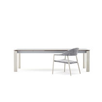 Contemporary dining table / painted metal / HPL / rectangular
