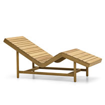 Contemporary sun lounger / teak / garden / reclining