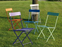 Traditional chair / stackable / metal / garden