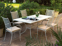 Traditional chair / metal / garden / stackable