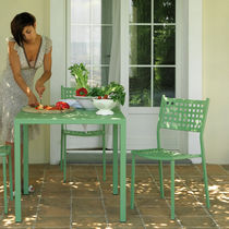 Contemporary chair / stackable / metal / garden