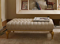 Traditional upholstered bench / leather / white
