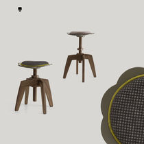 Contemporary stool / wooden / fabric / adjustable-height