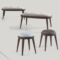 Traditional stool / wooden / fabric / upholstered