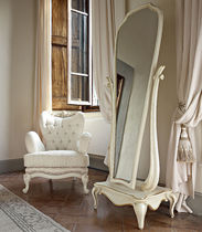 Free-standing mirror / classic / wooden / white
