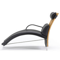 Contemporary chaise longue / leather / indoor / for public buildings