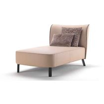 Contemporary chaise longue / fabric / leather