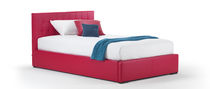 Single bed / pull-out / contemporary / leather