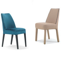 Contemporary chair / fabric / leather / upholstered