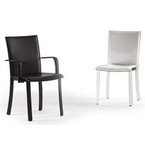 Contemporary chair / leather / with armrests / upholstered