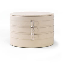 Contemporary pouf / leather / round / with storage compartment
