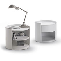 Contemporary bedside table / leather / round / for hotels