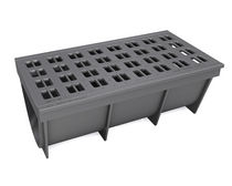 Public space drainage channel / cast iron / with grating
