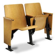 Folding auditorium seat / hardwood / steel