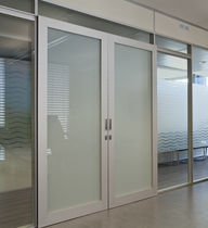 Sliding door / aluminum / double / for public buildings