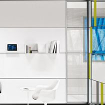 Removable partition / wooden / steel / glazed
