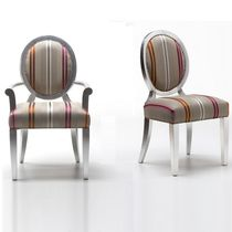 Contemporary chair / with armrests / medallion / wooden