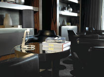 Table lamp / contemporary / aluminum / fabric