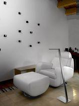 Floor-standing lamp / contemporary / glass / brass