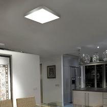 Contemporary ceiling light / square / glass / brass