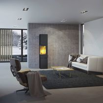 Wood heating stove / contemporary / corner / double-sided