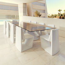 Contemporary table / glass / polyethylene / HPL