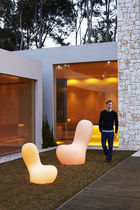 Original design fireside chair / polyethylene / illuminated / outdoor