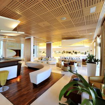 Ceiling acoustic panel / wooden / commercial