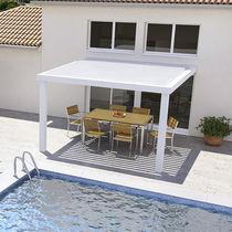 Wall-mounted pergola / aluminum / with mobile slats