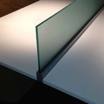 Countertop office divider / fabric / glass / soundproofed