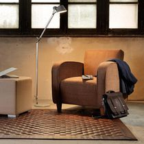 Contemporary rug / plain / leather / rectangular
