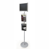 Self-supporting display totem / with video monitor / for exhibitions / for public spaces