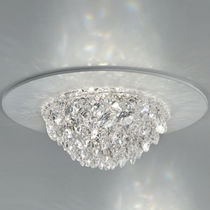 Contemporary ceiling light / round / metal / crystal