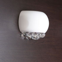 Contemporary wall light / crystal / blown glass / metal
