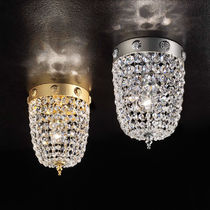 Classic ceiling light / round / crystal / metal