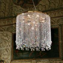 Pendant lamp / classic / crystal / chromed metal