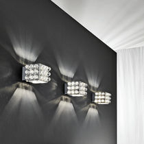 Contemporary wall light / crystal / stainless steel / halogen