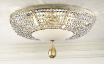 Classic ceiling light / round / glass / metal