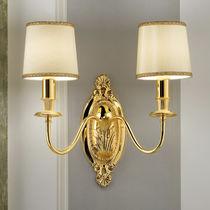 Classic wall light / brass / fabric / incandescent