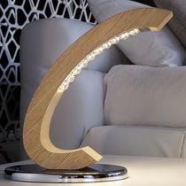 Table lamp / original design / oak / crystal
