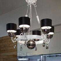 Classic chandelier / brass / fabric / incandescent