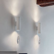Contemporary wall light / crystal / metal