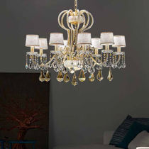Classic chandelier / crystal / metal / fabric