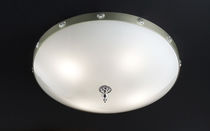 Classic ceiling light / round / metal / crystal