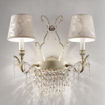 Classic wall light / crystal / metal / fabric