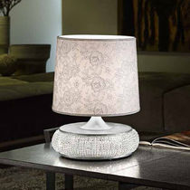 Table lamp / classic / fabric / crystal