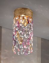 Classic ceiling light / round / brass / crystal