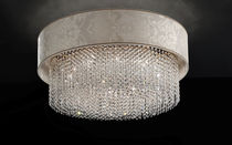 Traditional ceiling light / round / crystal / halogen