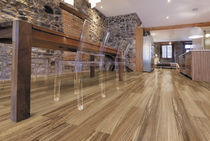 Engineered parquet flooring / zebrano / varnished