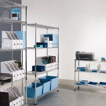 Contemporary shelf / chromed metal / for offices
